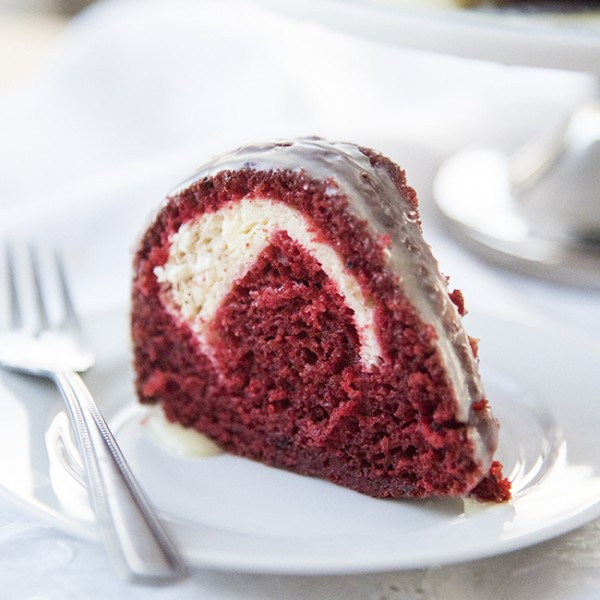 Cream Cheese Stuffed Red Velvet Bundt Cake with White Chocolate Ganache