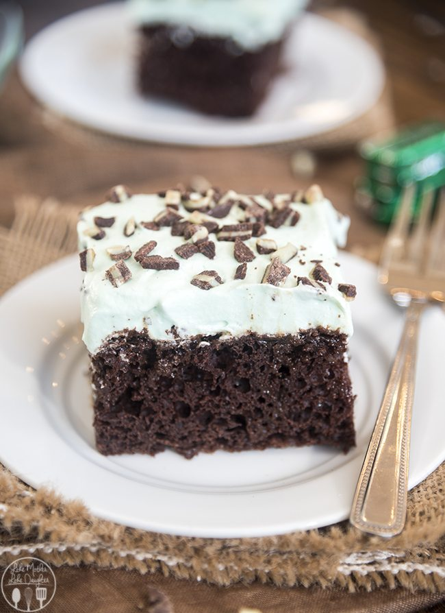 mint chocolate poke cake 6 THIS ONE