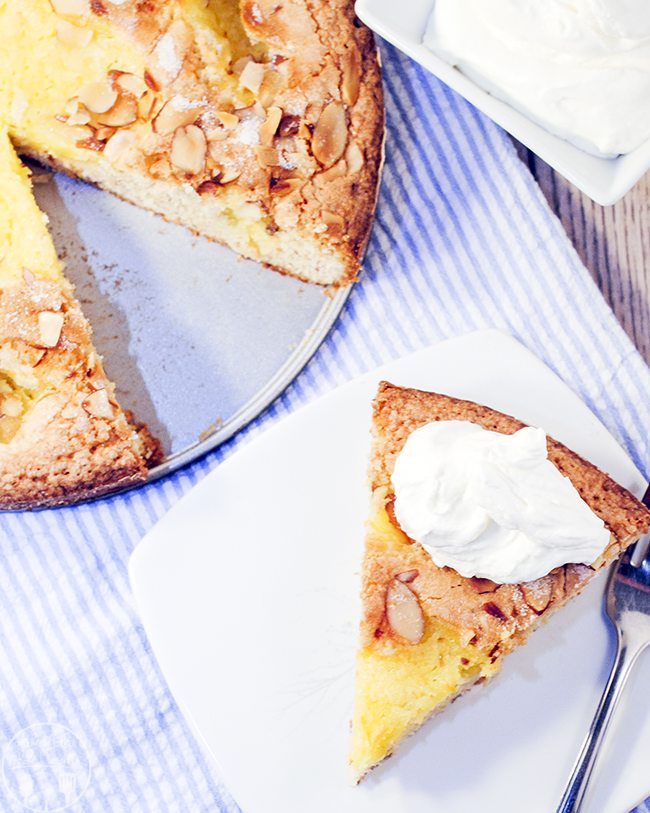 Almond Lemon Curd Torta - This almond lemon curd torta is a sweet cake topped with toasted almonds and delicious lemon curd. Its a labor of love, but worth it in the end!