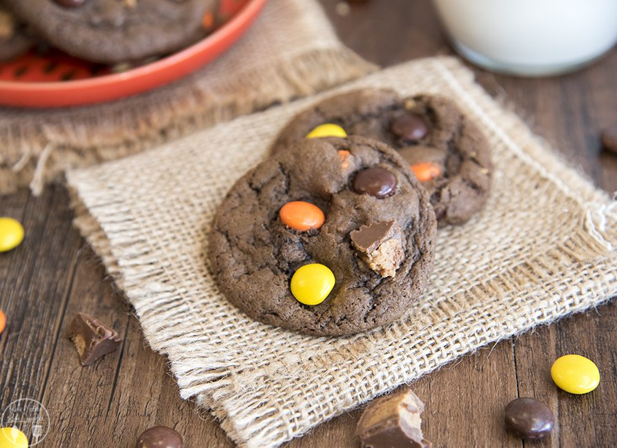 Chocolate Peanut Butter Cup Cookies - These soft and chewy chocolate peanut butter cup cookies are stuffed full of Reese's pieces and peanut butter cups. The perfect cookie for peanut butter cup lovers!