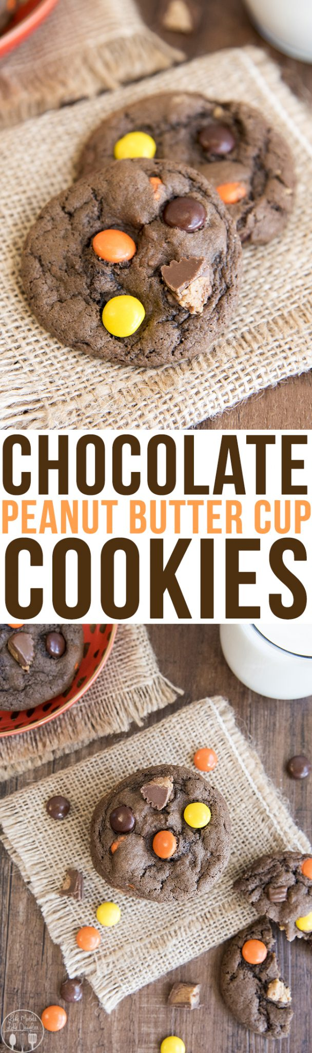 These soft and chewy chocolate peanut butter cup cookies are stuffed full of Reese's pieces and peanut butter cups. The perfect cookie for peanut butter cup lovers!