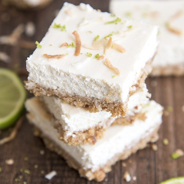 Lime Cheesecake Bars with a Coconut Graham Cracker Crust