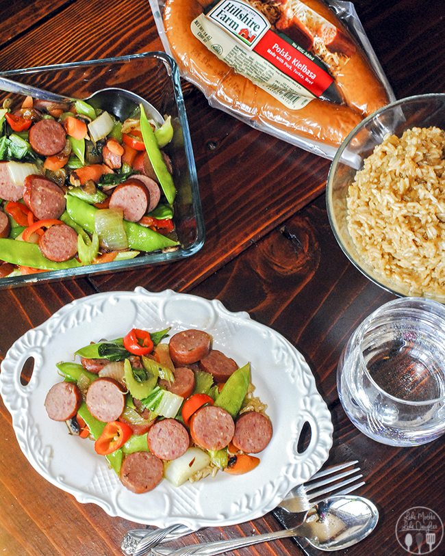 Polska Kielbasa Stir Fry - this stirfry is packed with vegetables galore along with kielbasa sausage for a new upgraded stir fry, serve it over your favorite rice.