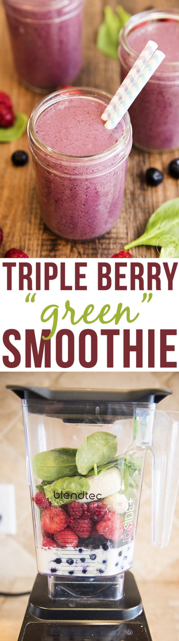 triple berry green smoothie is packed full of three kinds of berries ...