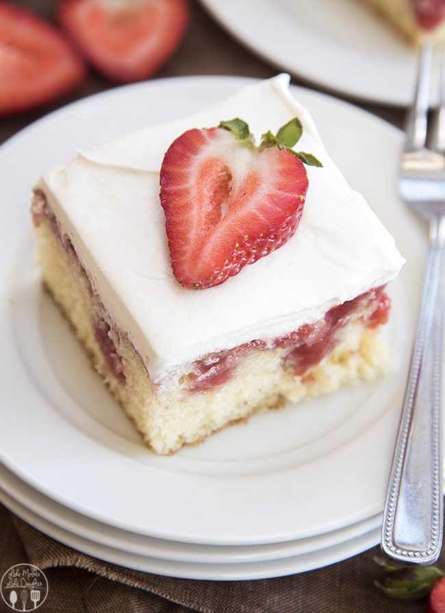 Strawberries And Cream Poke Cake Starts With A Mix Filled Fresh