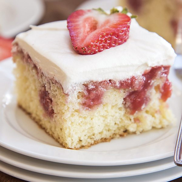 strawberries and cream poke cake 8square