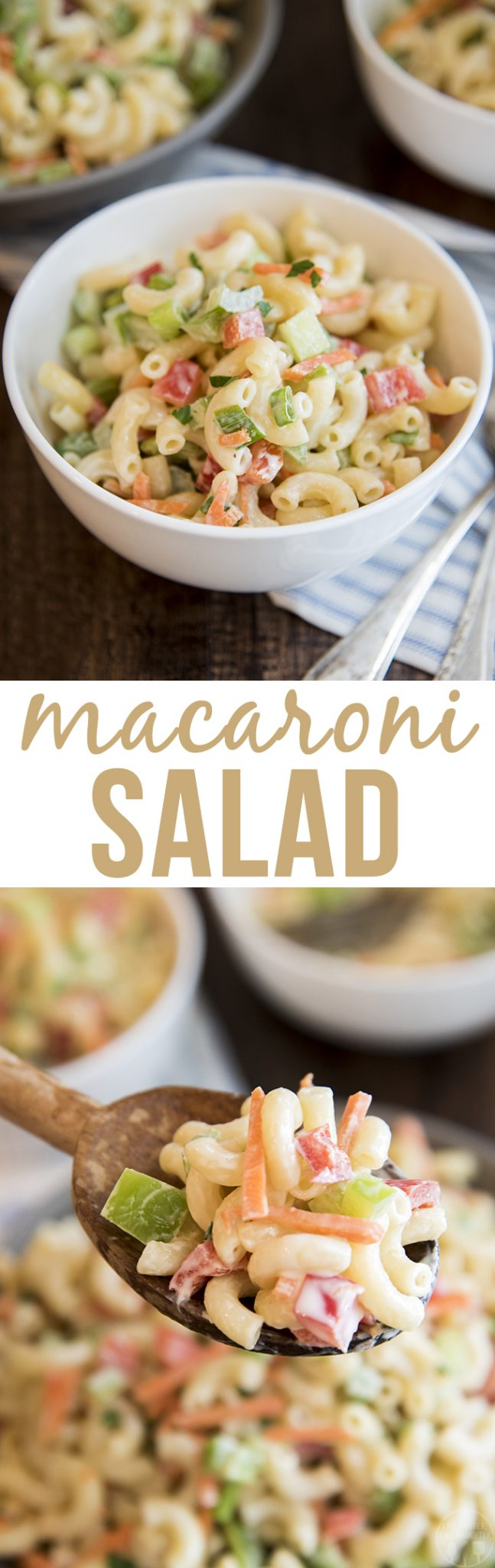 Macaroni Salad - This creamy macaroni salad is loaded full of fresh crunchy vegetables. Its the perfect summer side dish for a picnic or potluck!
