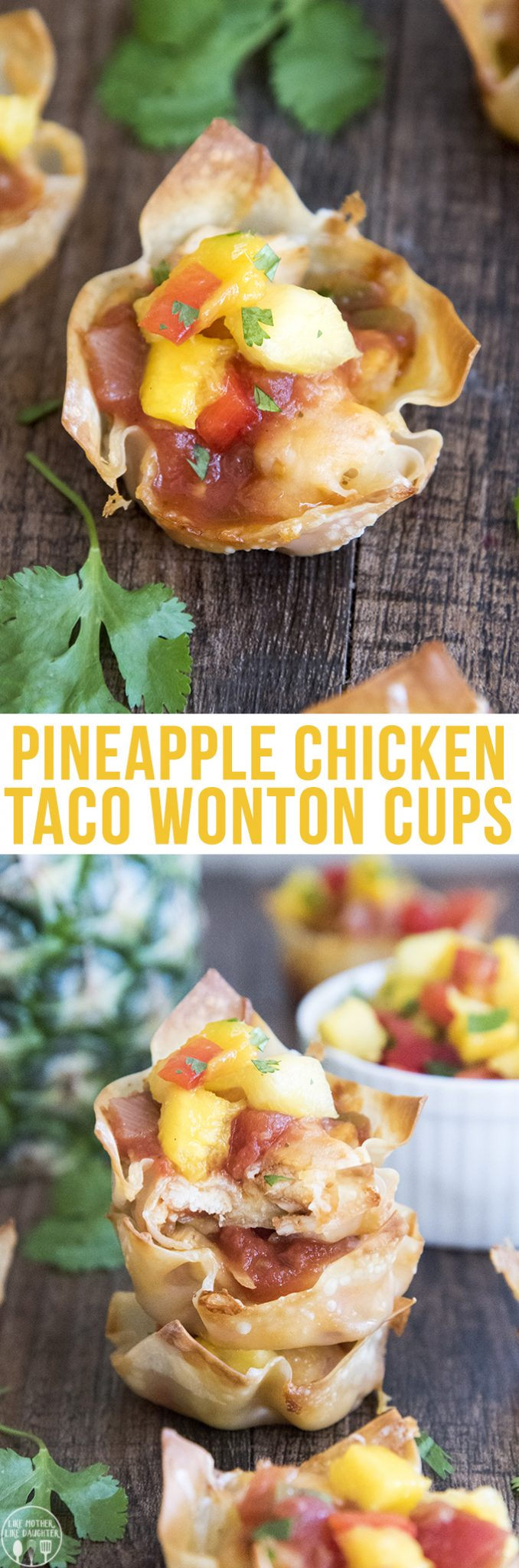 Pineapple Chicken Taco Wonton Cups - These wonton cups have layers of crunchy wonton shells, salsa seasoned chicken, melty cheese, and are topped with a fresh pineapple, mango salsa.