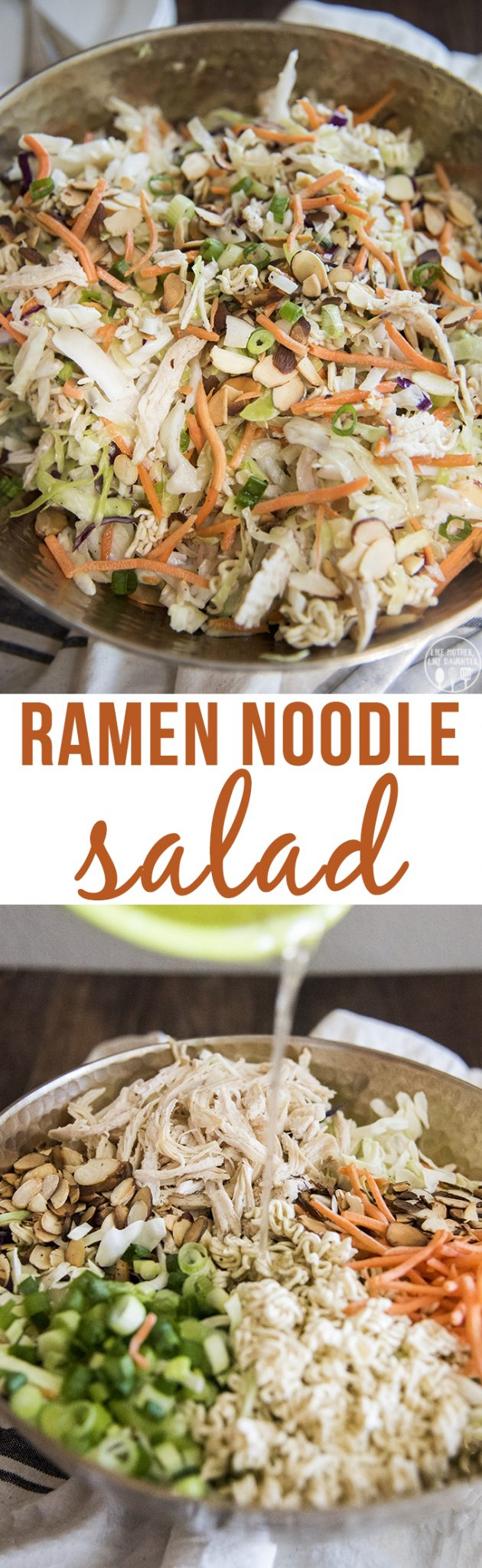 Ramen Noodle Salad - This ramen noodle salad is quick and easy to make. The crunchy salad is covered in a flavorful dressing and is perfect served at a picnic, potluck, or barbecue!