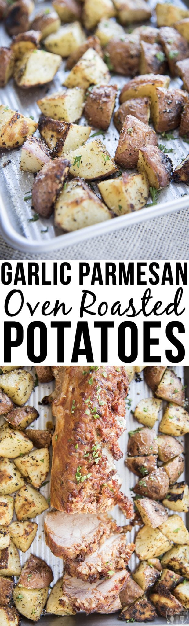 These garlic parmesan oven roasted potatoes are the perfect 30 minute side dish. Crispy tender potatoes seasoned to perfection these are the perfect side to any of your favorite dinner recipes!
