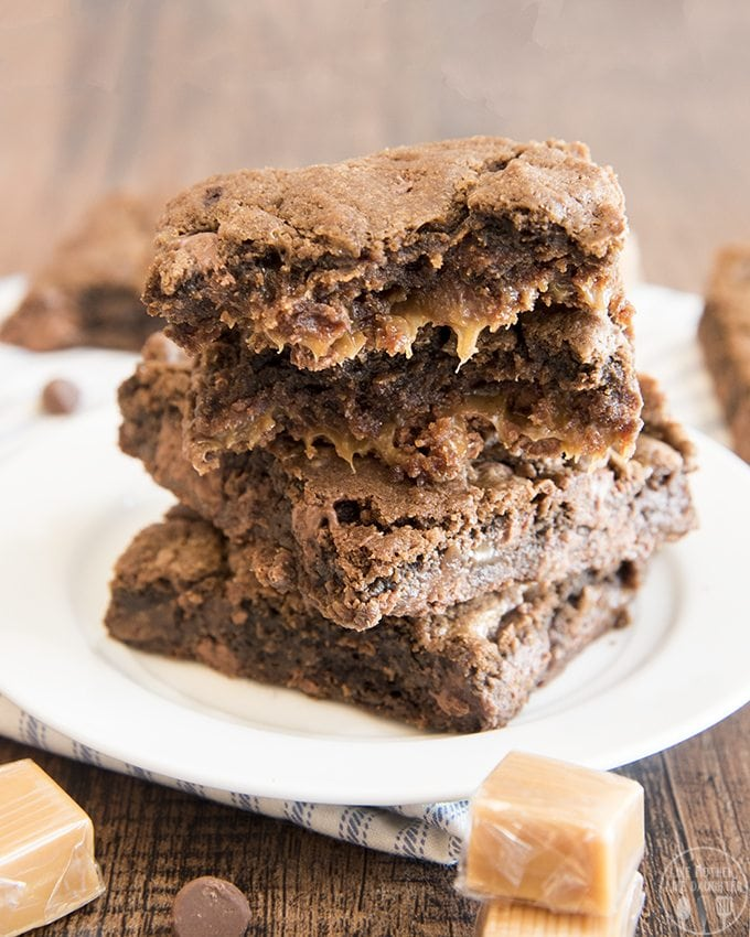 These delicious double chocolate caramel cookie bars have two layers of chocolate cookie filled with a gooey caramel layer in the middle.