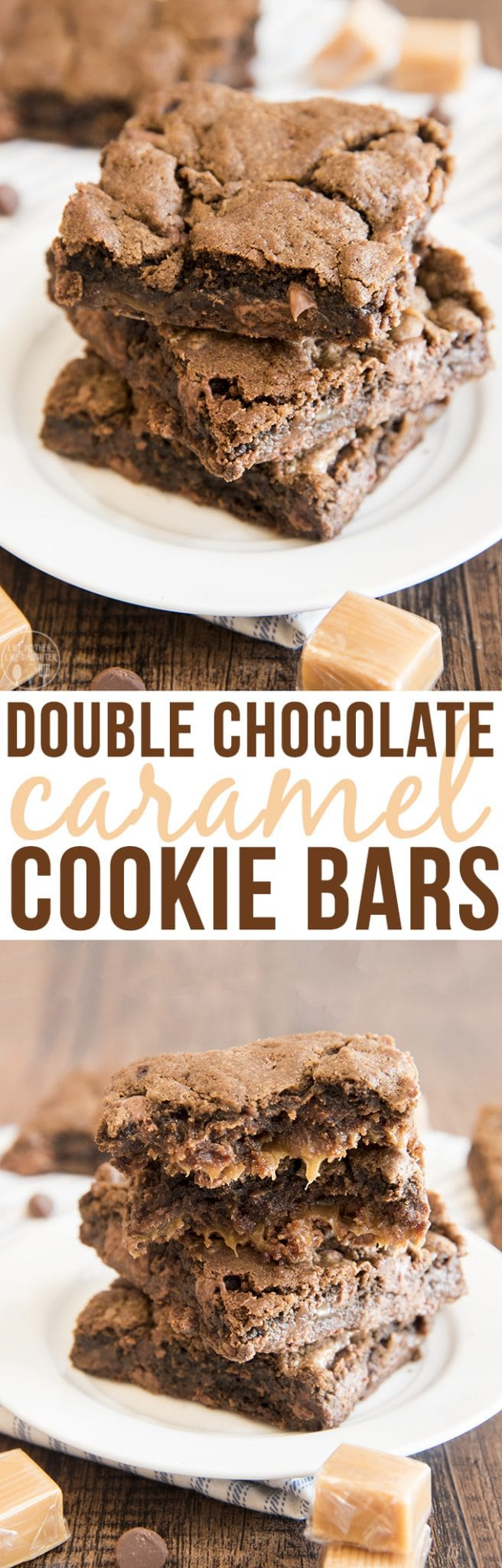 chocolate caramel cookie bars have two layers of chocolate cookie ...