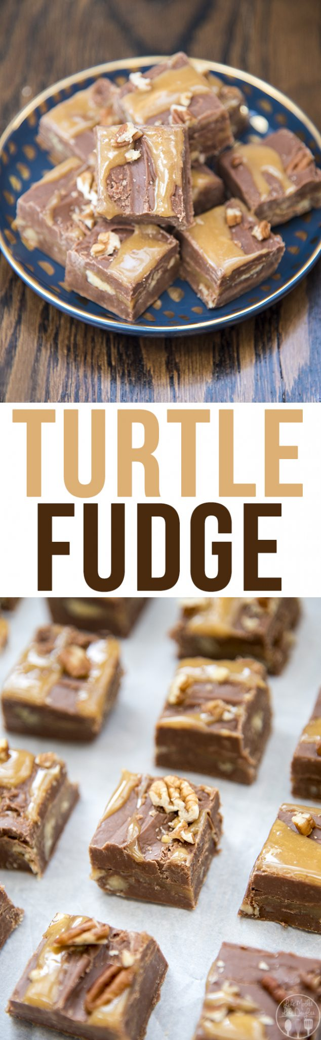 Turtle fudge is a creamy chocolate fudge with a caramel and pecan center! Its a delicious treatthat everyone will love!