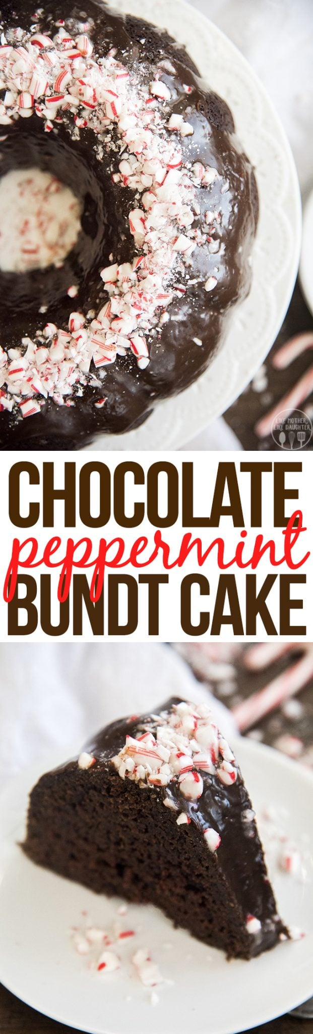 This chocolate peppermint bundt cake is the best holiday cake! Its moist, sweet, and rich with the perfect blend of chocolate and peppermint throughout, and topped with crunchy candy cane pieces!