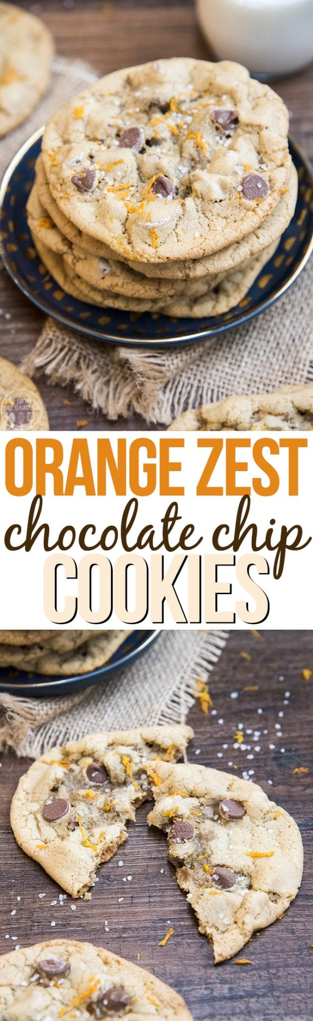 These orange zest chocolate chip cookies, are amazing chewy chocolate chip cookies topped with just a little orange zest at the end for the perfect citrus flavor burst.