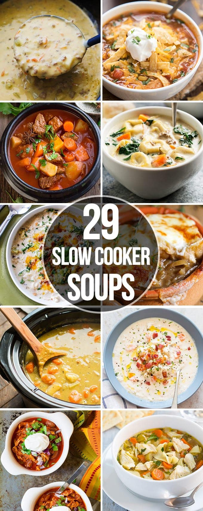 Twenty NineSlow Cooker Soups that are perfect for an easy comforting meal. They are ready with out a lot of prep work and are so great for a cold day!