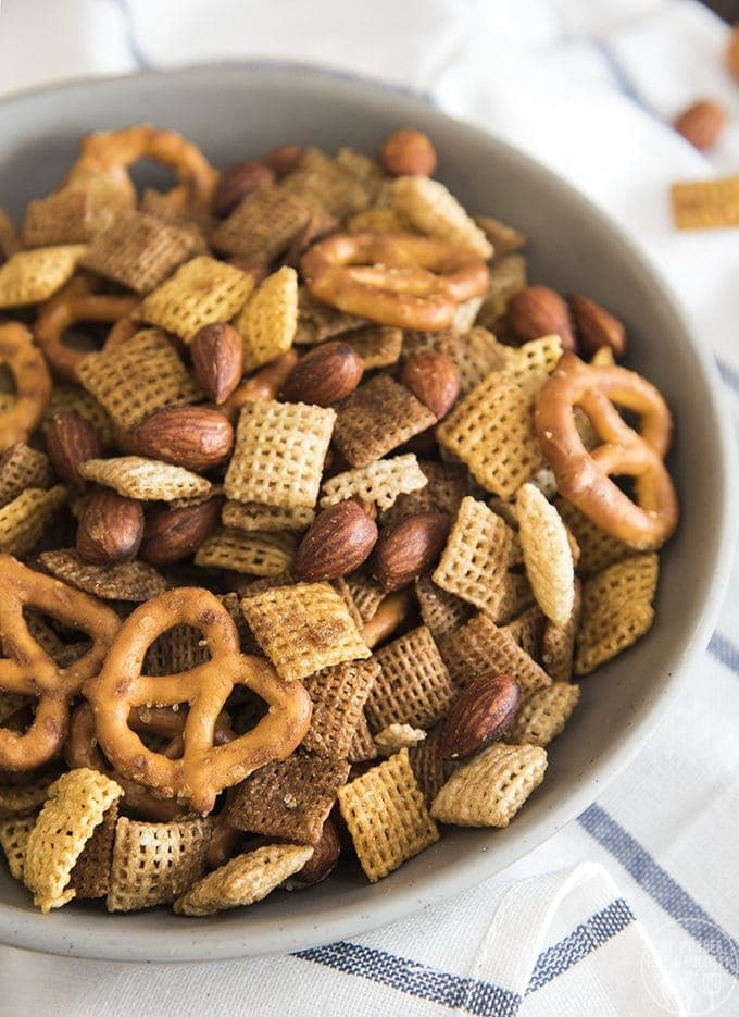 This homemade almond chex party mix is an easy savory snack mix full of so much flavor! It tastes just like the real deal!