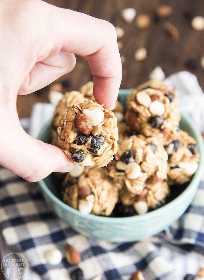 almond blueberry white chocolate granola bar bites 5