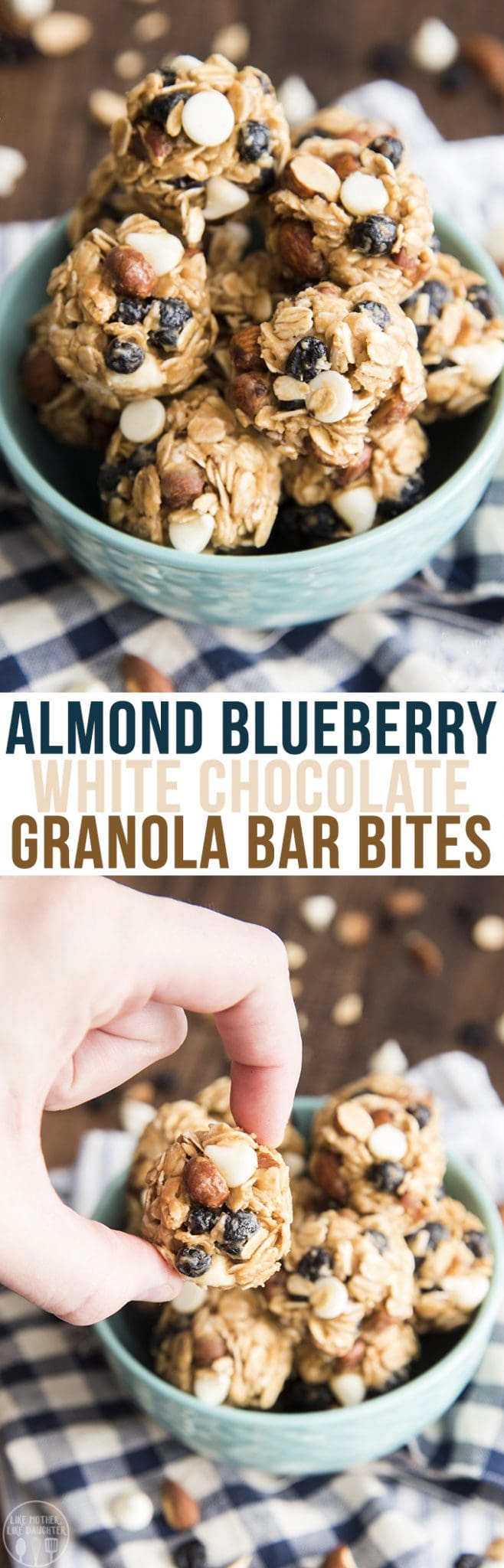Blueberry Almond White Chocolate Chip Granola Bar Bites - Like Mother ...