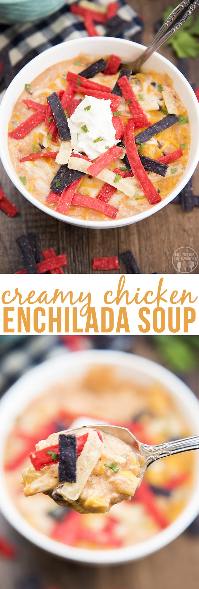 TCreamy chicken enchilada soup is packed full of flavors with black beans, shredded chicken, corn, diced tomatoes and more for a creamy and delicious, comforting bowl of soup that everyone will love!