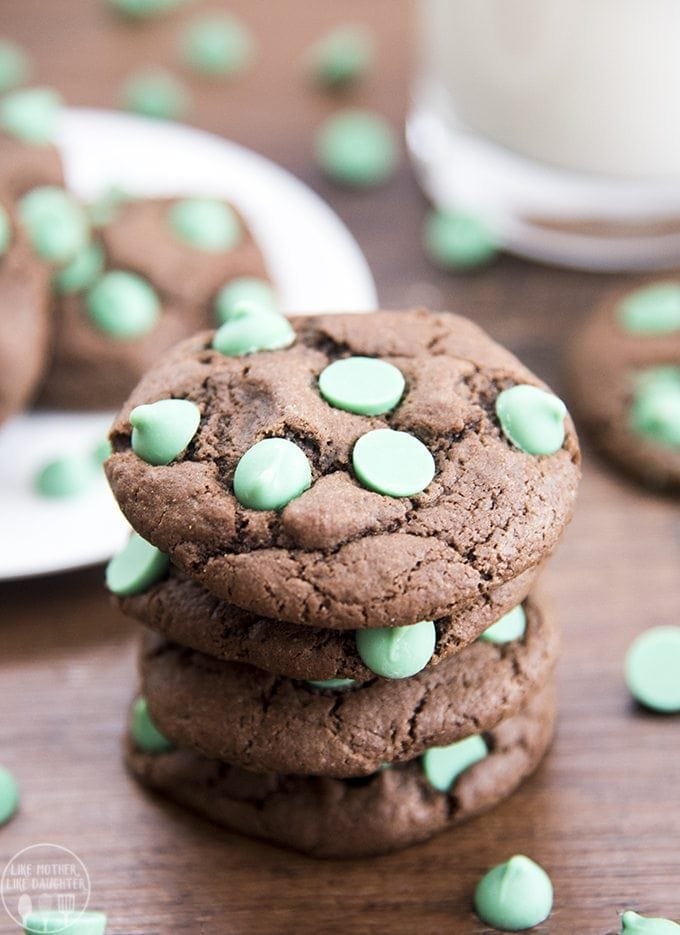 These chocolate mint chip cookies are the best chewy and fudgy chocolate cookies packed full of green mint chips throughout!