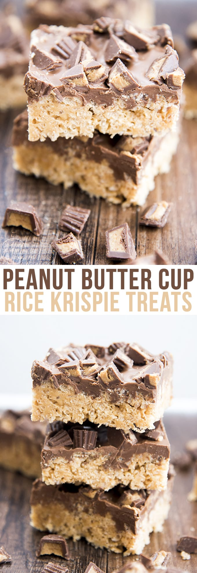 Peanut butter cup rice krispie treats are a perfect easy and delicious treat. With a peanut butter marshmallow krispie treat base, topped with a chocolate peanut butter ganache and chopped peanut butter cups!