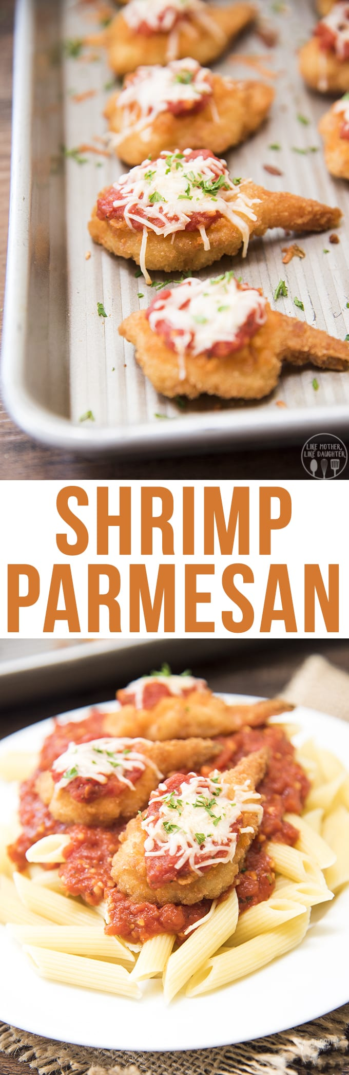 A delicioustwist on chicken parmesan, with battered shrimp topped with a simple marinara sauce and melty cheese. This shrimp parmesan is a dish everyone will enjoy!