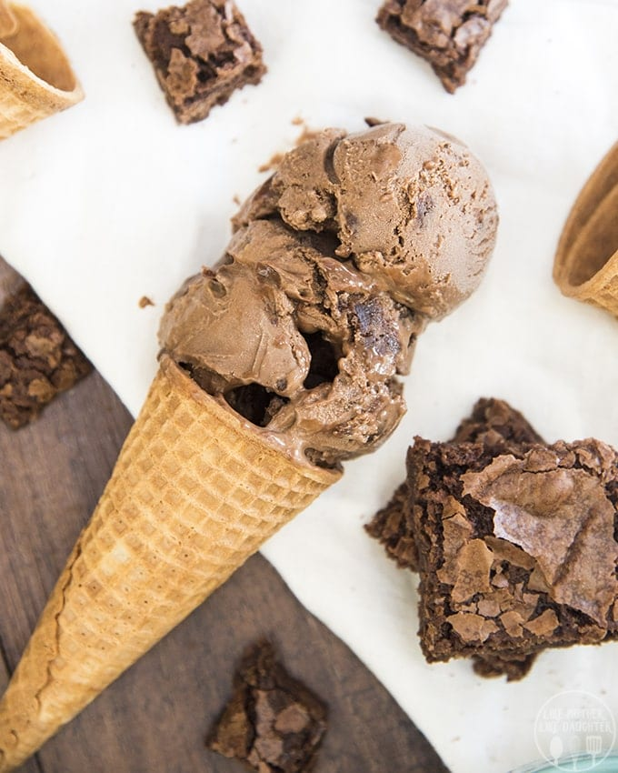 This chocolate fudge brownie ice cream is rich chocolate ice cream, swirled with hot fudge, and stuffed full of brownie chunks throughout. Its the ultimate ice cream for chocolate lovers.