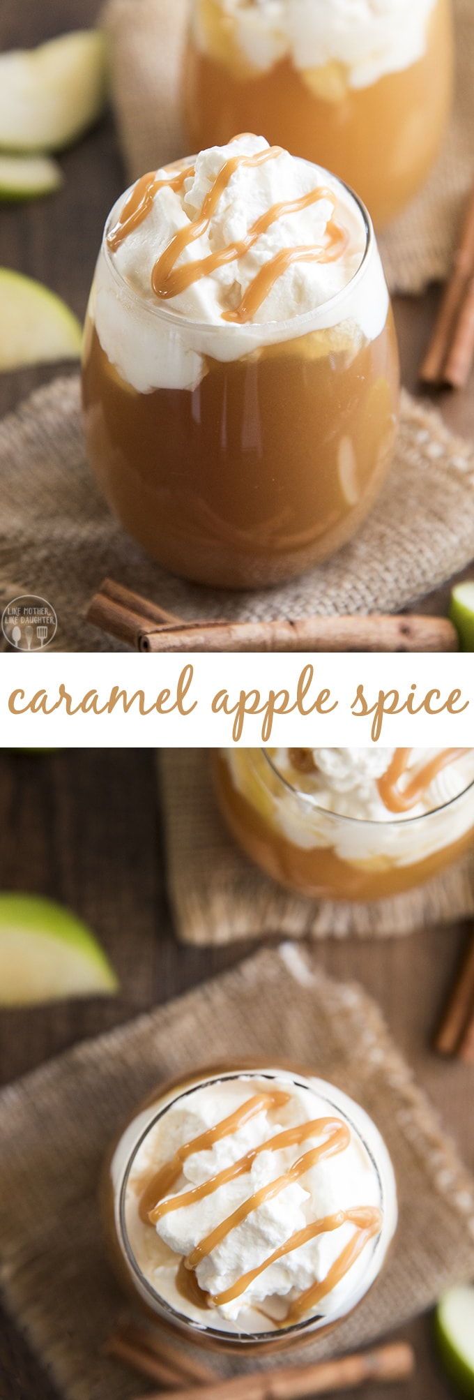 Copycat Starbuck's caramel apple spice tastes just like the original! With a homemade sweet cinnamon syrup, hot apple juice, topped with whipped cream and a drizzle of caramel sauce this drink is the perfect thing to warm up with!