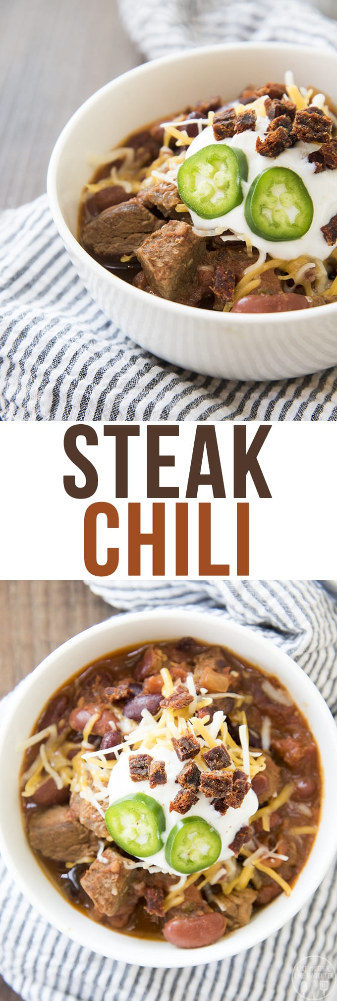 Steak Chili is a delicious and heartychili packed full of big pieces of steak instead of ground beef. Its perfect with your favorite toppingsand great paired with cornbread.