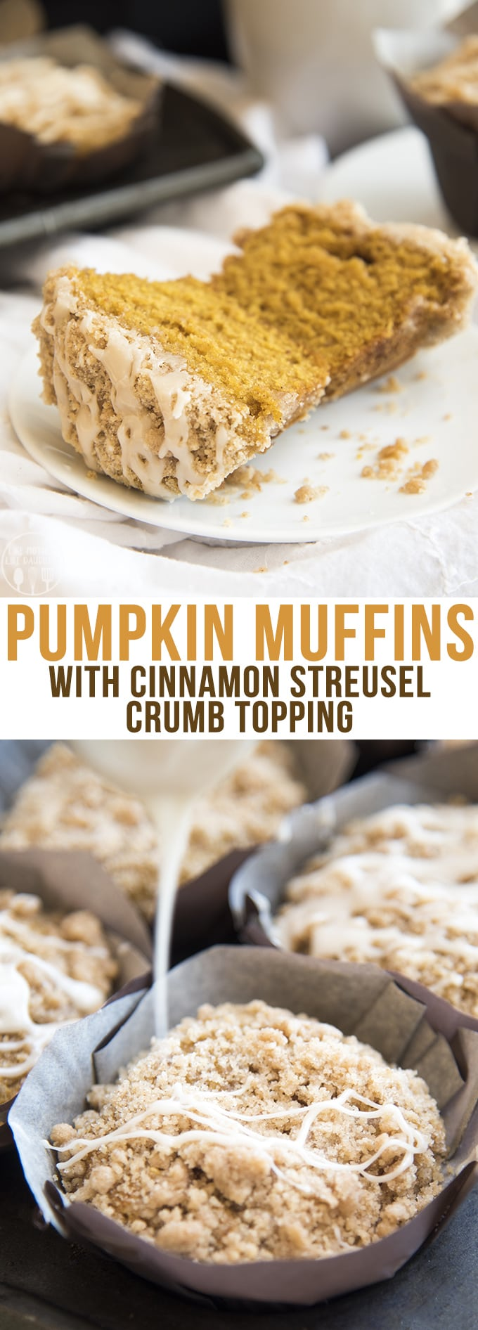 These Pumpkin Muffins are perfection. They are moist, flavorful, and topped with a cinnamon streusel crumb topping and a drizzle of vanilla icing; the perfect pumpkin treat!
