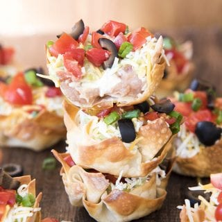 7 Layer Dip Wonton Cups