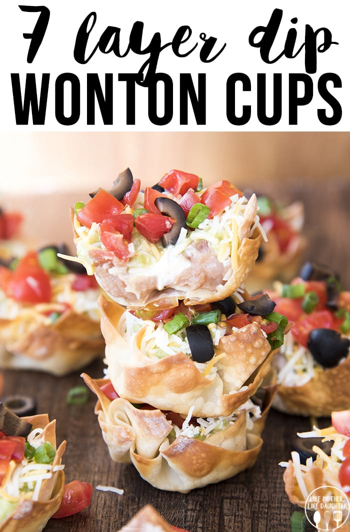 seven layer dip cups are individual wonton cups full of every layer of seven layer dip, perfect for a bite size, delicious, snack or appetizer, and great for a party!