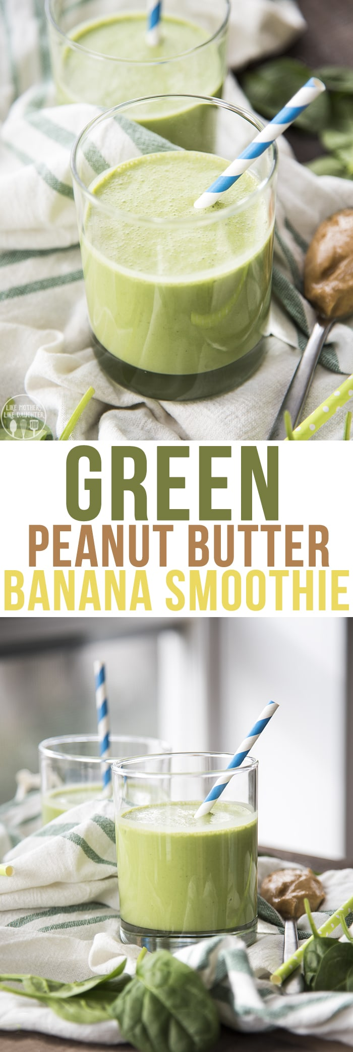 A green banana peanut butter smoothie that is perfect for a healthy and nutritious breakfast, or light snack.