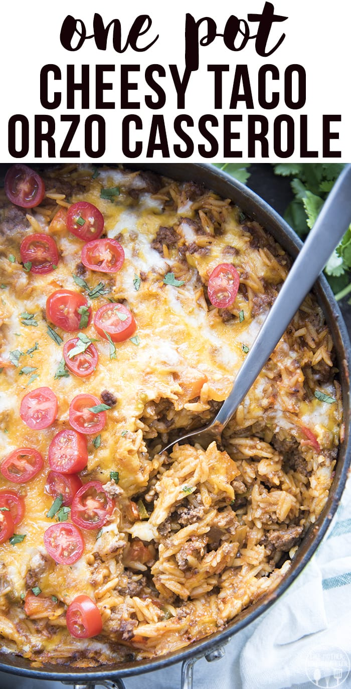 One Pot Taco pasta is a delicious one pot dish that is ready in about 30 minutes, perfect for a taco flavored dish with orzo pasta, salsa, ground beef, and lots of cheese.