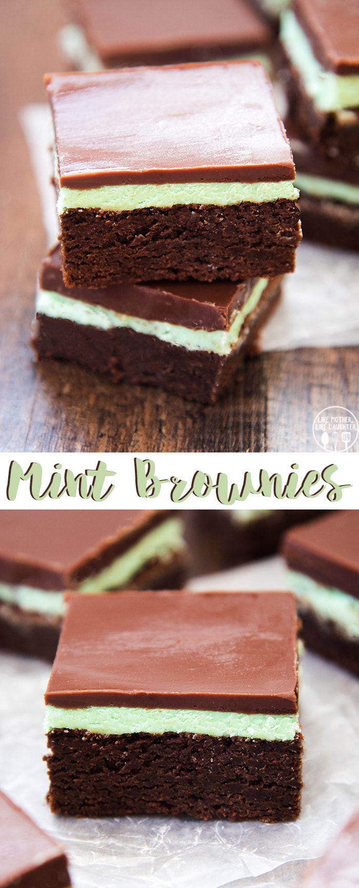 Mint Brownies are a delicious rich homemade chocolate brownie topped with a creamy and cool mint frosting and chocolate ganache.