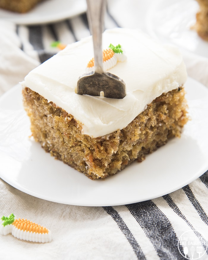 Carrot cake Recipe topped with candy carrots
