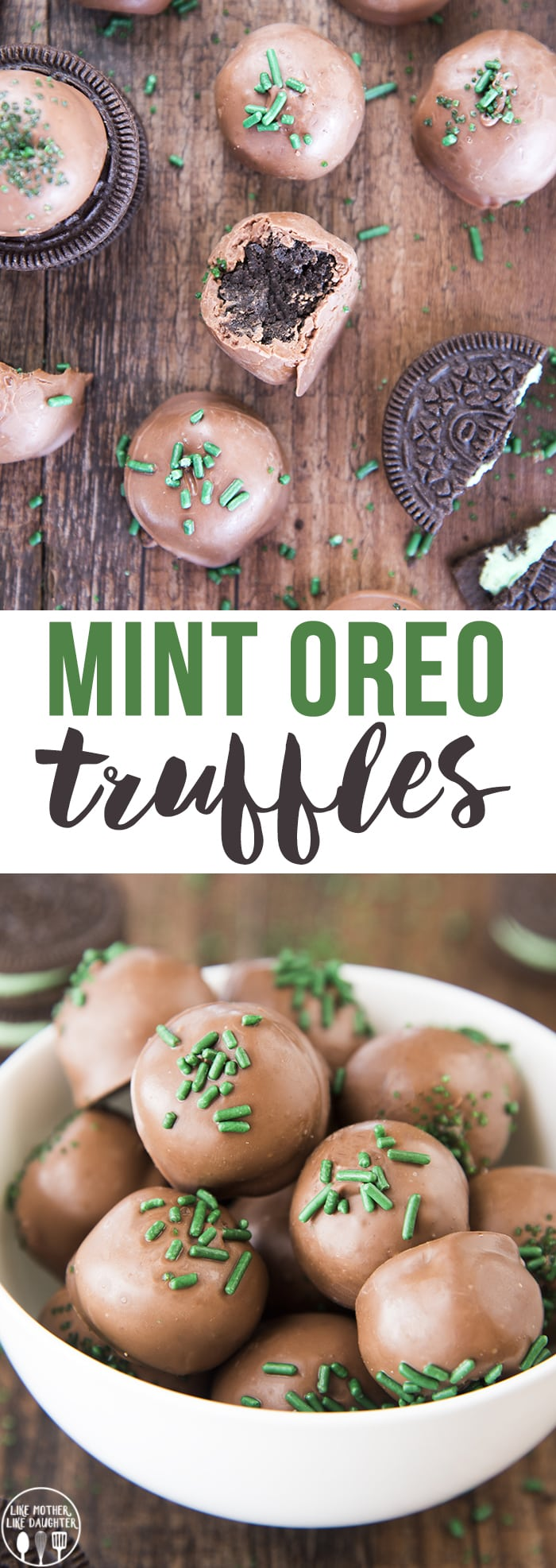 Mint Oreo Truffles are delicious 3 ingredient oreo balls made with cool mint Oreos for a sweet chocolate and mint treat!