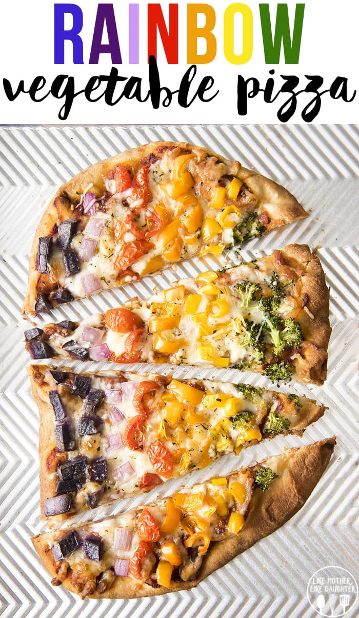 This Rainbow Vegetable pizza is a delicious vegetarian pizza with the colors of the rainbow!