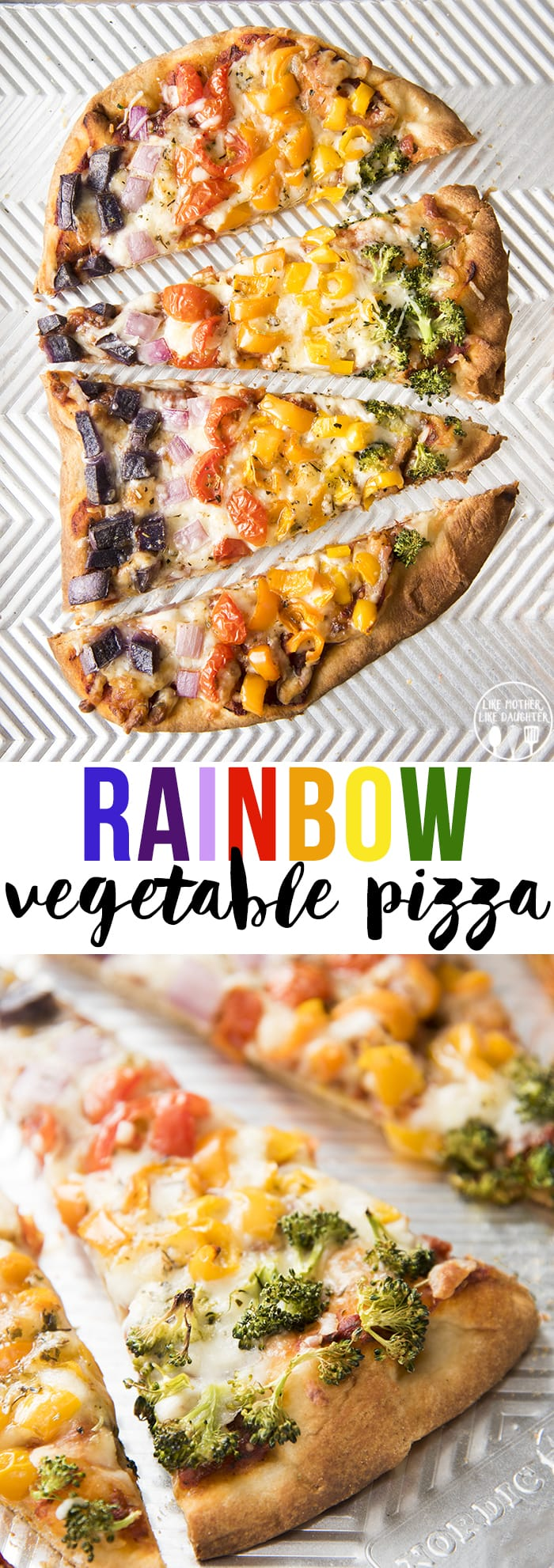 This Rainbow Veggie pizza is a delicious vegetarian pizza with the colors of the rainbow!