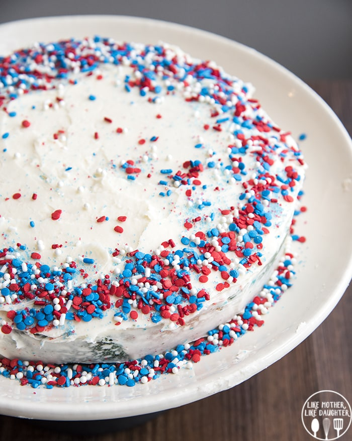 Red White and Blue Tie Dye Cake