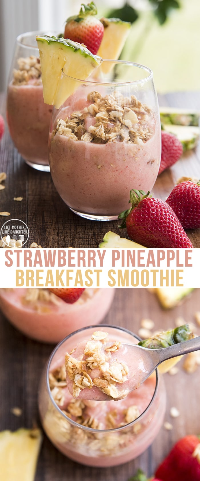 This Strawberry Pineapple smoothie is an easy smoothie with only 5 ingredients, that is the perfect way to start your day!