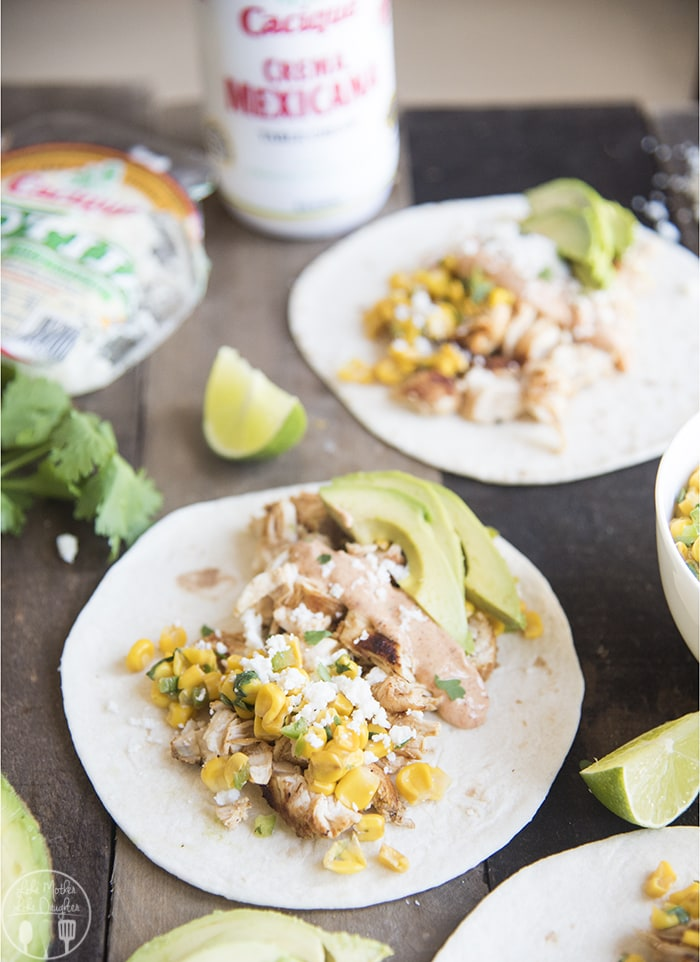 Elotes and Chicken Tacos