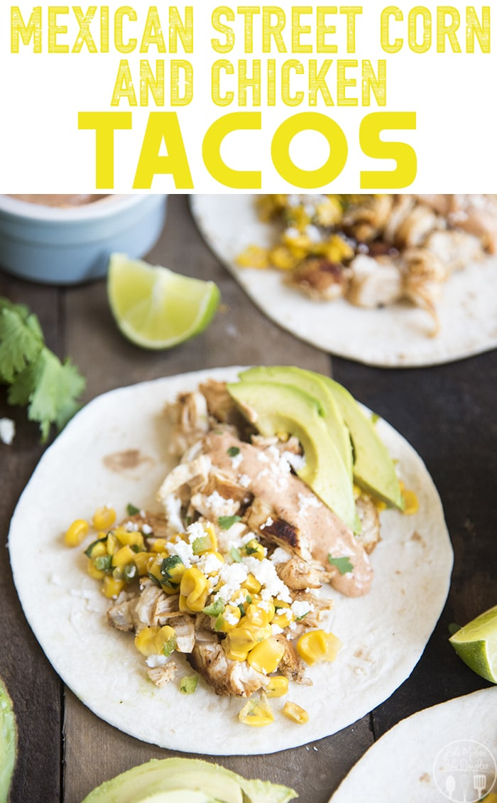 Mexican Corn and Chicken Tacos are delicious tacos with marinated chicken, topped with a mexican corn salsa, creamy chili sauce, avocado and cotija cheese!