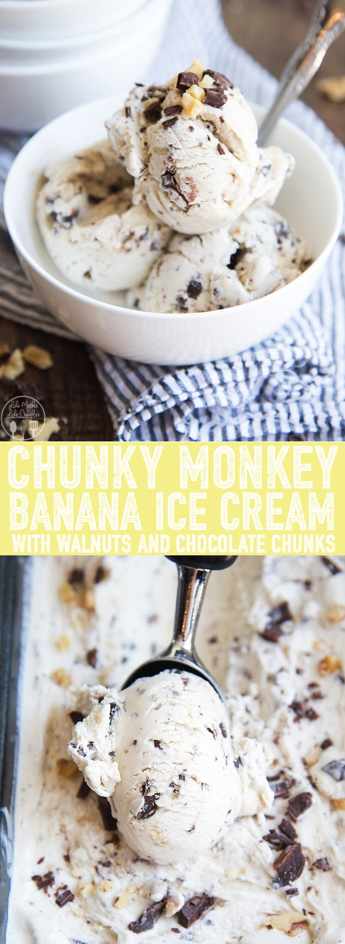 Homemade Chunky Monkey Ice Cream is a creamy banana ice cream full of chopped walnuts and chocolate, that tastes just like Ben and Jerry's!