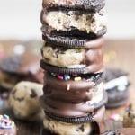 Chocolate Covered Cookie Dough Stuffed Oreos
