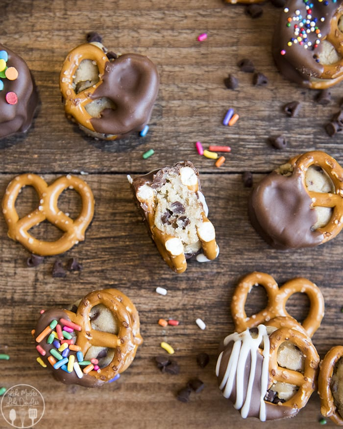 Cookie Dough Stuffed Pretzels dipped in chocolate!!
