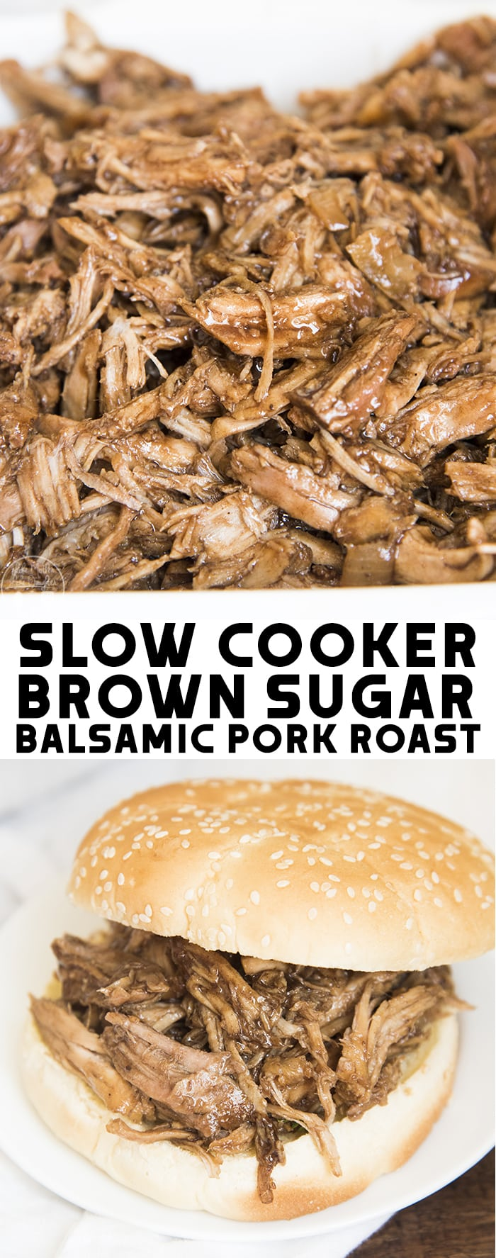This Slow Cooker Brown Sugar Balsamic Pork Roast is a flavorful, tender pork that in a delicious tangy sweet glaze! Perfect for an easy dinner everyone will love!