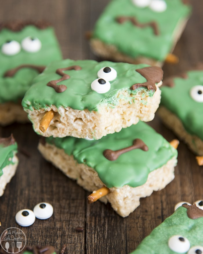 Frankenstein Treats with Rice Krispie Treats