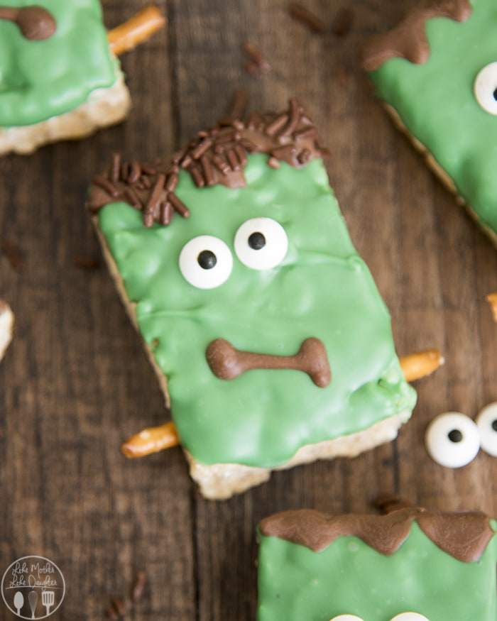 Frankenstein decorated Rice Krispie Treats